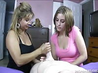 Mom and teen waking on the same cock