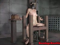Aroused sub with mask gets punished by her mistress
