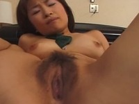 Hairy Japanese pussy fingered and licked