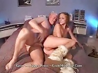 Pigtailed redheaded petite rides an old cock with her ass