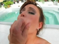 Superb babe handles three hard dicks with all holes