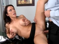 Busty brunette secretary fucked by the bald boss