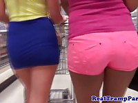 Sexy young tramps shopping and sucking