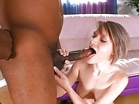 Petite White Chick Rides On Big Black Cock