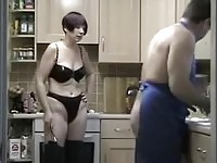 Dirty wife pegging on her husband