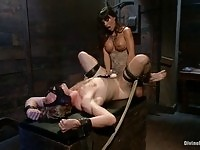 Hot brunette domina Gia DiMarco fucking her stud in the ass