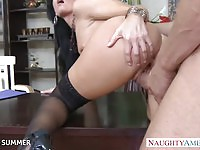 Superb brunette in stockings India Summer likes fucking