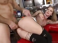Sexy babe takes black cock in the ass