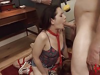 Two dirty sluts getting their asses fucked roughly