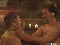 Hot gay guys in candle light action