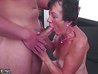 Horny amateur granny enjoying young dong