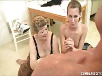 Teen and mature ladies handling cock