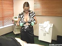 Pierced nurse wanking on the job