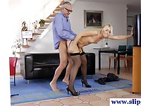 Perfect blonde babe fucked by a geriatric