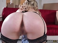 Superb blonde MILF eating cock and getting pussy fucked
