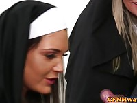 Perverted nun sucking cock in front of voyeurs