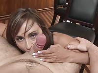Busty doll Claudia Valentine sucks the hard dong