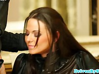 Cheating upper class brunette mouth fucked by her jealous husband