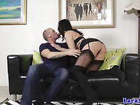 Attractive upper class MILF playing with cock