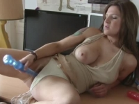 Busty amateur getting hot with her new toys