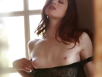 Most beautiful redhead goes solo to tease your cock