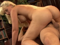 Pierced blonde slut sucking and riding on hard one