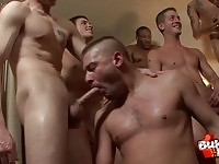 Awesome gay dudes in group fuck