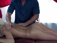 Oily cock penetrating the blonde's ass
