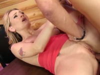 Delicious blonde squirter fucked in her twat and ass