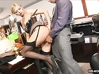 Blonde secretary in lingerie gets pounded from behind