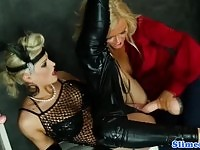 Wet and messy blondes using a strapon to climax