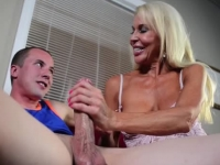 Sexy blonde mature lady wanking