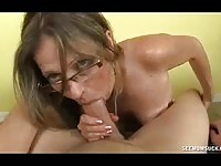 Girlfriend's mom sucking my hard cock