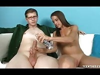 Sweet teen wanking on her teacher
