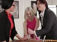 Three office sluts testing on a lotion