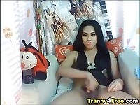 Pretty asian tranny jerking off until she cums