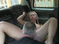 Lovely blonde model fucked in the cab