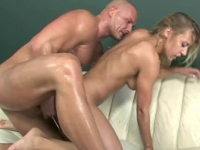 Skinny babe Nikky Thorn fucked in both holes