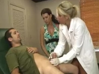 Lucky guy wanked by two nurses