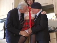 Outstanding British mature fucked by two old guys