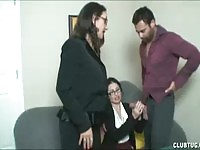 Double handjob at the office for this lucky guy