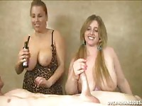 Topless teen and aunt in titjob