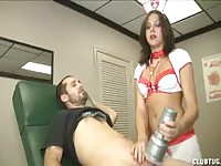 Sexy nurse using a fleshlight