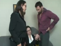 Two horny office sluts offering a hand