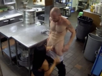 Wet brunette pumped in the kitchen