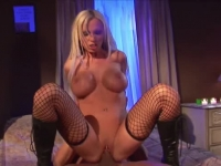 Big boobed blonde chocking on dick and riding it like a pro