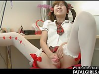 Tiny Japanese schoolgirl climaxes with a dildo