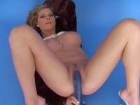Beautiful dream blonde playing with her blue dildo