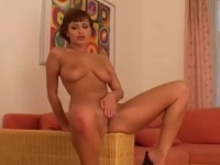 Perfect brunette amateur strips and rubs her clit