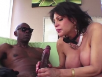Busty moist milf enjoys huge black cock